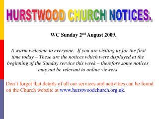 HURSTWOOD CHURCH NOTICES.