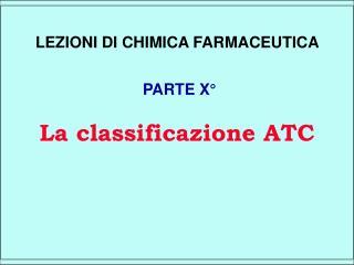 La classificazione ATC