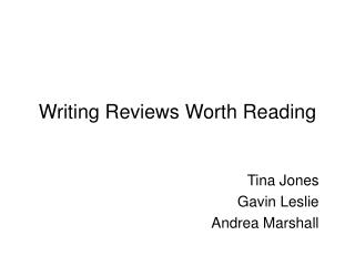 Writing Reviews Worth Reading