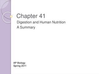 Digestion and Human Nutrition A Summary