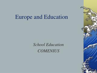 Europe and Education