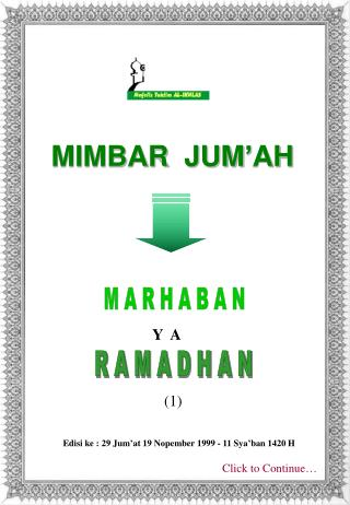 MIMBAR  JUM'AH