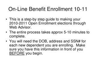 On-Line Benefit Enrollment 10-11