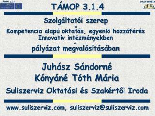Juhász Sándorné Kónyáné Tóth Mária Suliszerviz  Oktatási és Szakértői Iroda