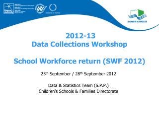 2012-13 Data Collections Workshop School Workforce return (SWF 2012)
