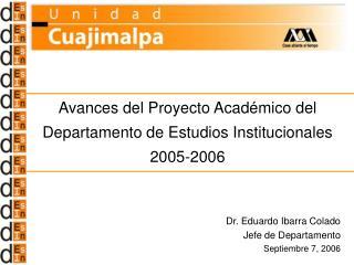 Avances del Proyecto Académico del  Departamento de Estudios Institucionales 2005-2006