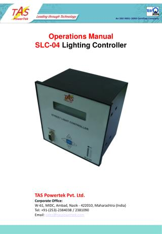 Operations Manual SLC-04  Lighting Controller