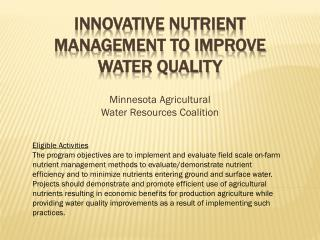 Innovative Nutrient Management to Improve Water Quality