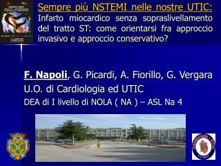 F. Napoli , G. Picardi, A. Fiorillo, G. Vergara U.O. di Cardiologia ed UTIC