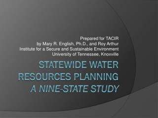 Statewide Water Resources Planning A Nine-State Study