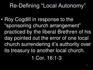 """Re-Defining """"Local Autonomy"""""""