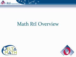 Math RtI Overview