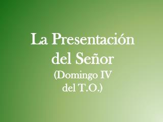 La Presentación  del Señor (Domingo IV  del T.O.)