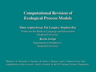 Computational Revision of Ecological Process Models