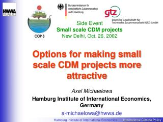 Options for making small scale CDM projects more attractive