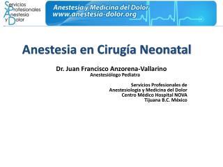 Anestesia en Cirug a Neonatal