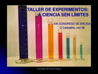TALLER DE EXPERIMENTOS:          A CIENCIA SEN LÍMITES
