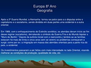 Europa 8  Ano Geografia