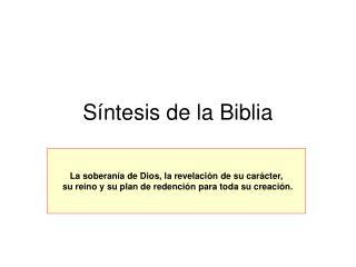 Síntesis de la Biblia