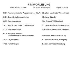 RINGVORLESUNG Termin:  Di 20:15 - 21.30 Uhr  Ort:  SE 219, Röntgenring 10 Beginn:  22.04.2008