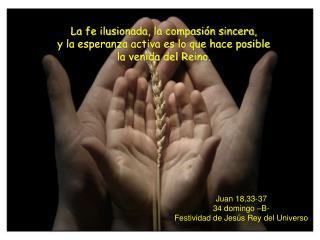 Juan 18,33-37 34 domingo –B- Festividad de Jesús Rey del Universo