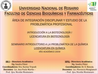 Universidad Nacional de Rosario Facultad de Ciencias Bioquímicas y Farmacéuticas