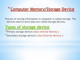 Computer Memory/Storage Device