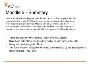 Moodle 2 - Summary