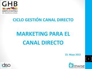 CICLO GESTI�N CANAL DIRECTO MARKETING PARA EL CANAL DIRECTO