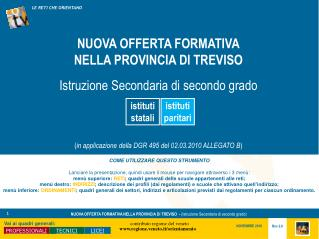 NUOVA OFFERTA FORMATIVA NELLA PROVINCIA DI TREVISO  Istruzione Secondaria di secondo grado     in applicazione della DGR
