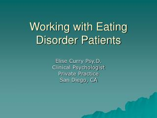Working with Eating Disorder Patients