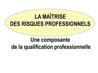 LA MAÎTRISE  DES RISQUES PROFESSIONNELS Une composante  de la qualification professionnelle