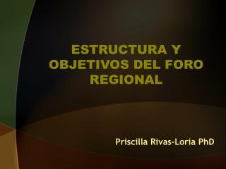 ESTRUCTURA Y OBJETIVOS DEL FORO REGIONAL