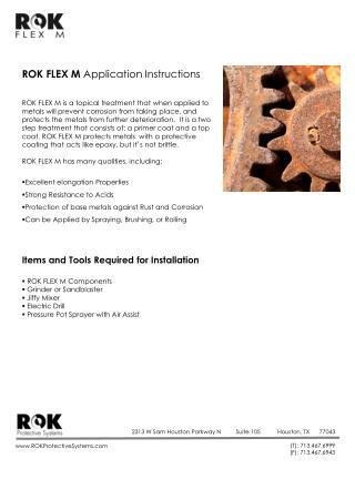 ROK FLEX M  Application Instructions