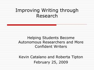 Improving Writing through Research