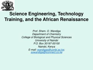Science Engineering, Technology Training, and the African Renaissance