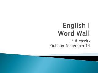 English I Word Wall
