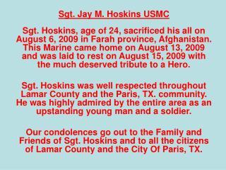 Sgt. Jay M. Hoskins USMC