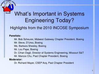 What s Important in Systems Engineering Today    Highlights from the 2010 INCOSE Symposium