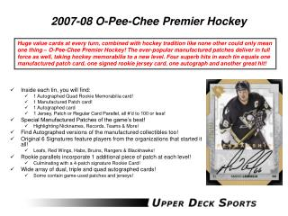 2007-08 O-Pee-Chee Premier Hockey