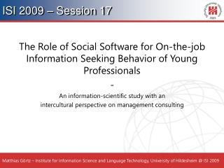ISI 2009 – Session 17