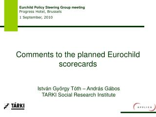 Comments to the planned Eurochild scorecards