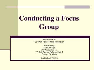 Conducting a Focus Group