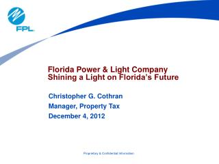 Florida Power & Light Company  Shining a Light on Florida's Future