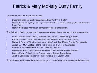 Patrick & Mary McNally Duffy Family