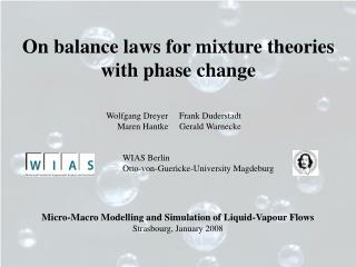 On balance laws for mixture theories with phase change