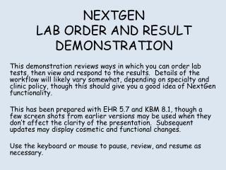 NEXTGEN LAB ORDER AND RESULT DEMONSTRATION