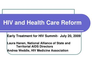 HIV and Health Care Reform