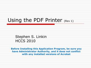 Using the PDF Printer  (Rev 1)