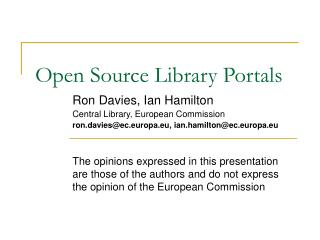 Open Source Library Portals